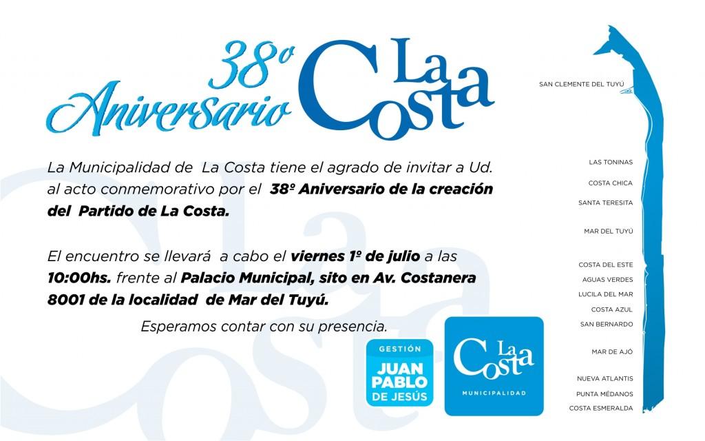 El viernes se celebra el 38° aniversario del Partido de la Costa