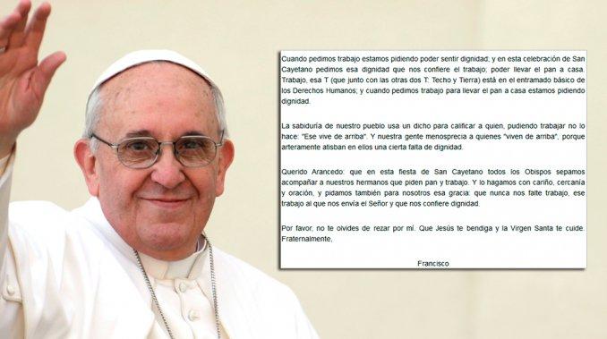 Dura carta del papa Francisco: pidió que no falte pan, trabajo y criticó el desempleo