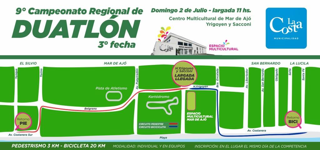 El domingo se corre en Mar de Ajó la tercera fecha del Campeonato Regional de Duatlón