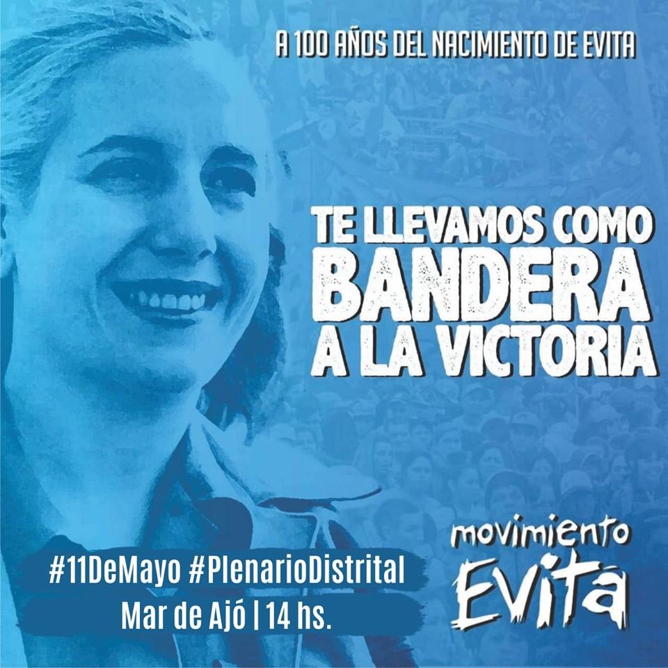A 100 años de su nacimiento  El Movimiento Evita realizará un plenario distrital en homenaje a Eva Perón