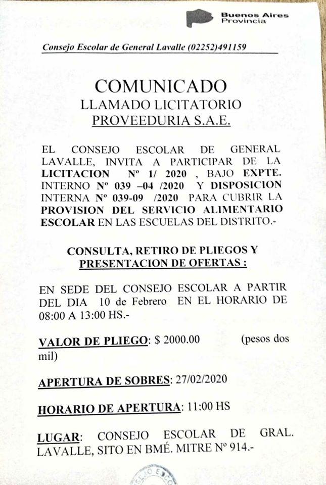 El Consejo Escolar lanzó una licitación para cubrir la provisión de alimentos escolares