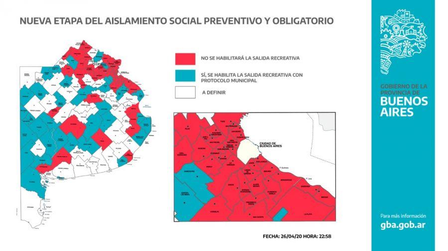 PROVINCIA DE BUENOS AIRES: Kicillof publicó un mapa de distritos en los que se podrá salir una hora por día en la Provincia