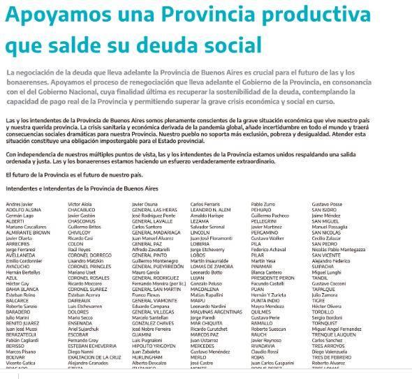 GENERAL LAVALLE: Intendentes bonaerenses apoyan la renegociación de la deuda provincial