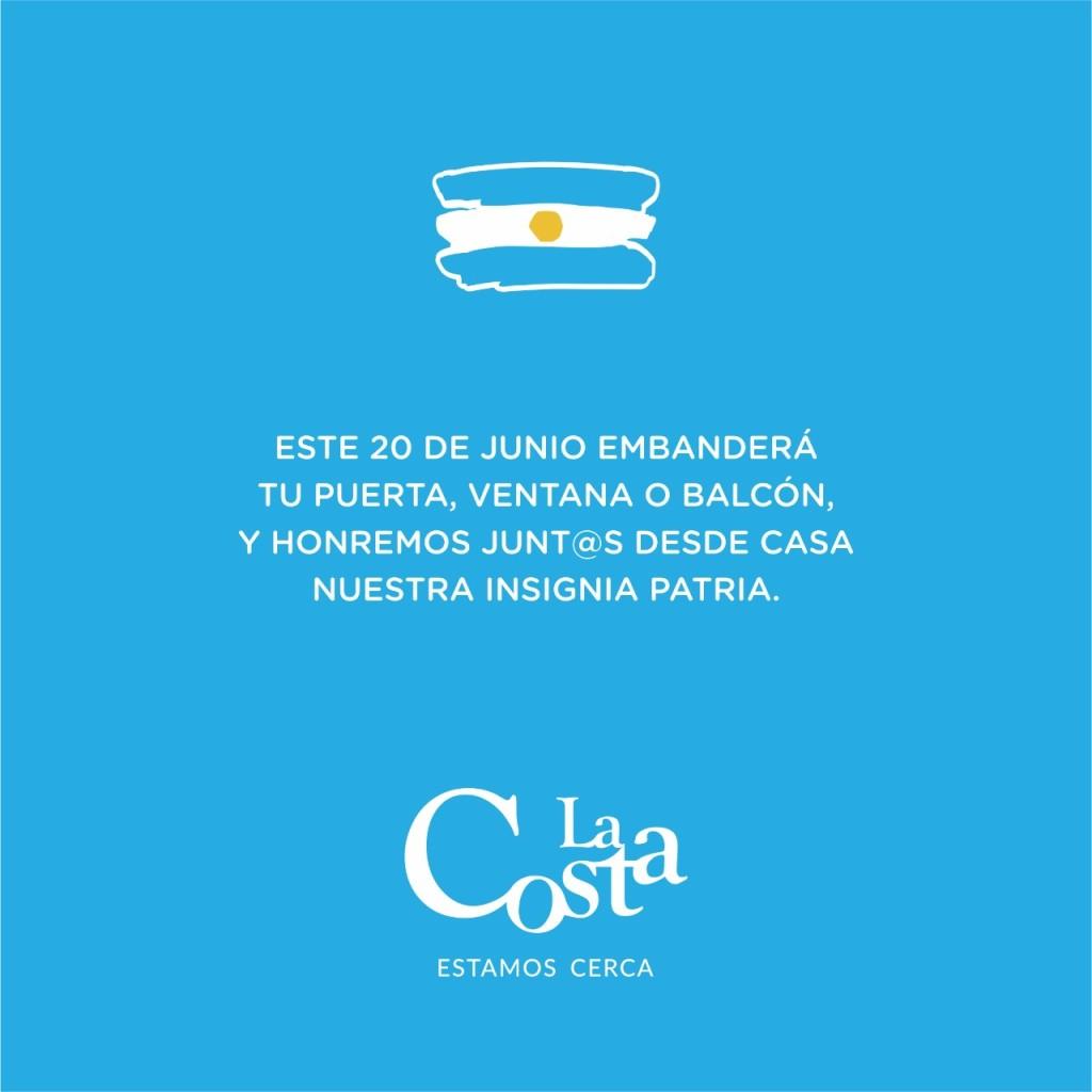 LA COSTA: Día de la Bandera: la Municipalidad invita a embanderar el frente de los hogares para homenajear a nuestra insignia patria