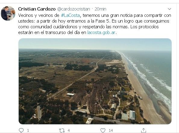 Cristian confirmó que a partir de hoy La Costa entra en la Fase 5: llega el distanciamiento responsable