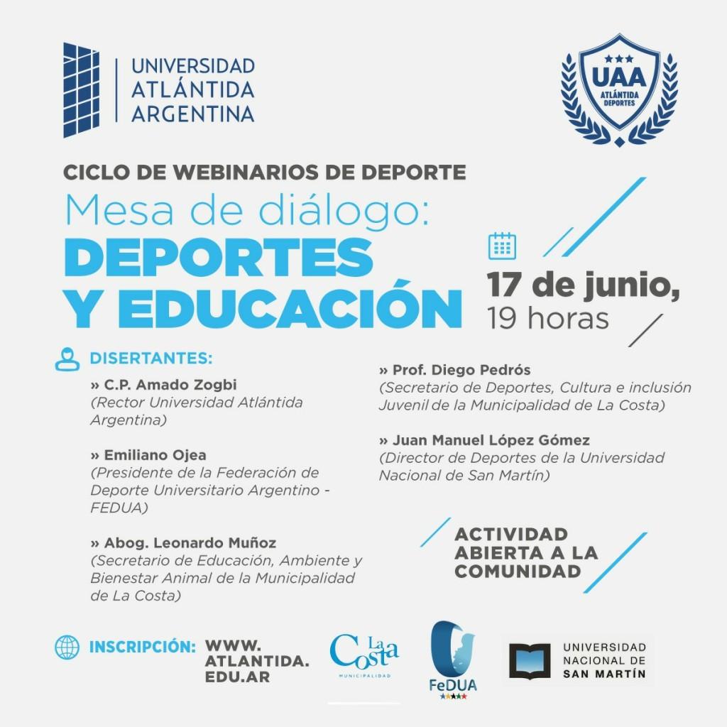 LA COSTA: Se realizará hoy un seminario web sobre deporte y educación