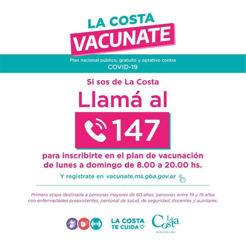 Los residentes de La Costa ya pueden inscribirse en el Plan Nacional de Vacunación contra el Covid-19 a través de la línea gratuita 147