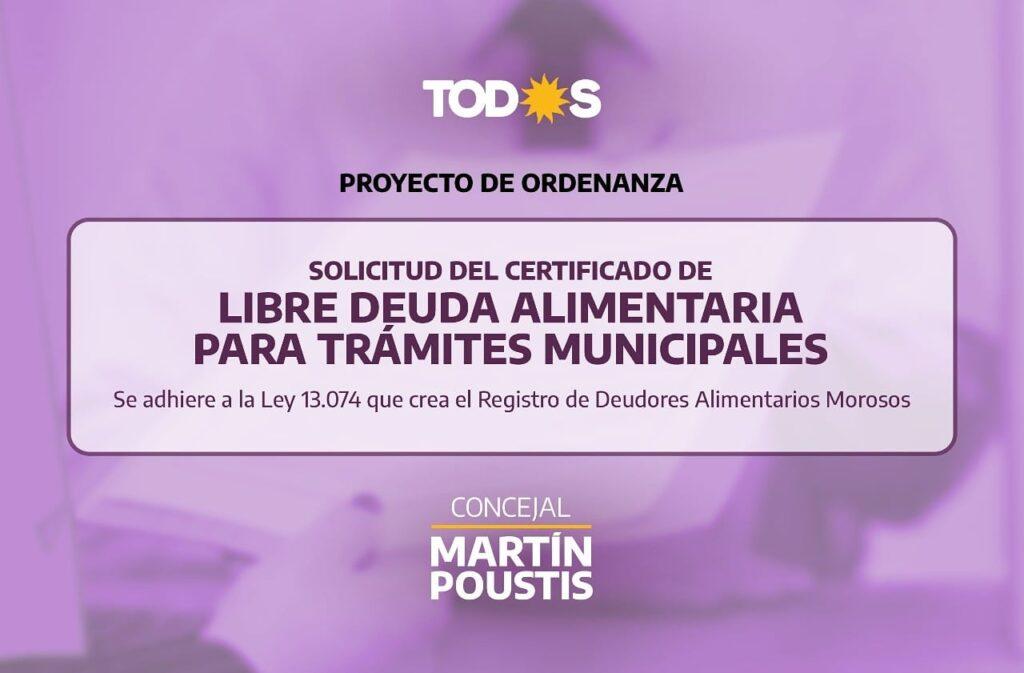 Martín Poustis impulsa una ordenanza para garantizar la cuota alimentaria de menores